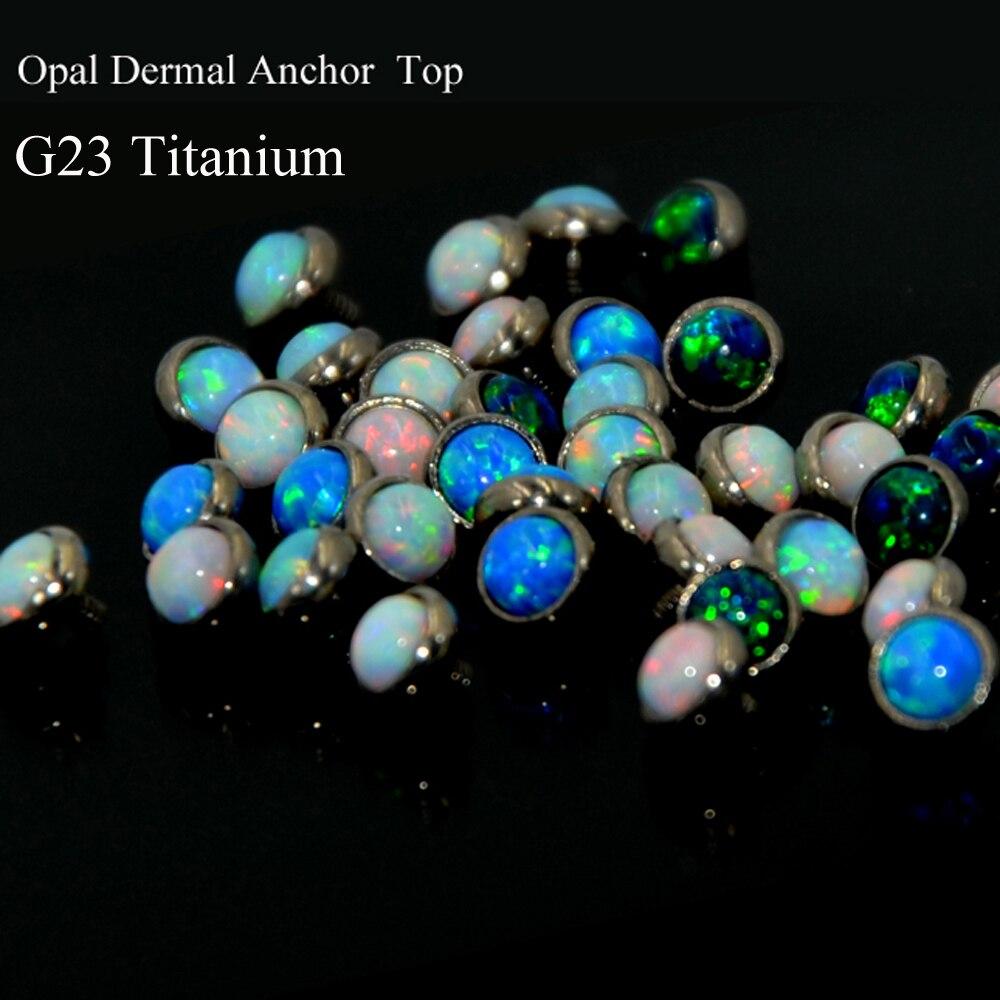 5pcs G23 Titanium Opal Stone Dermal Anchor Top Piercing
