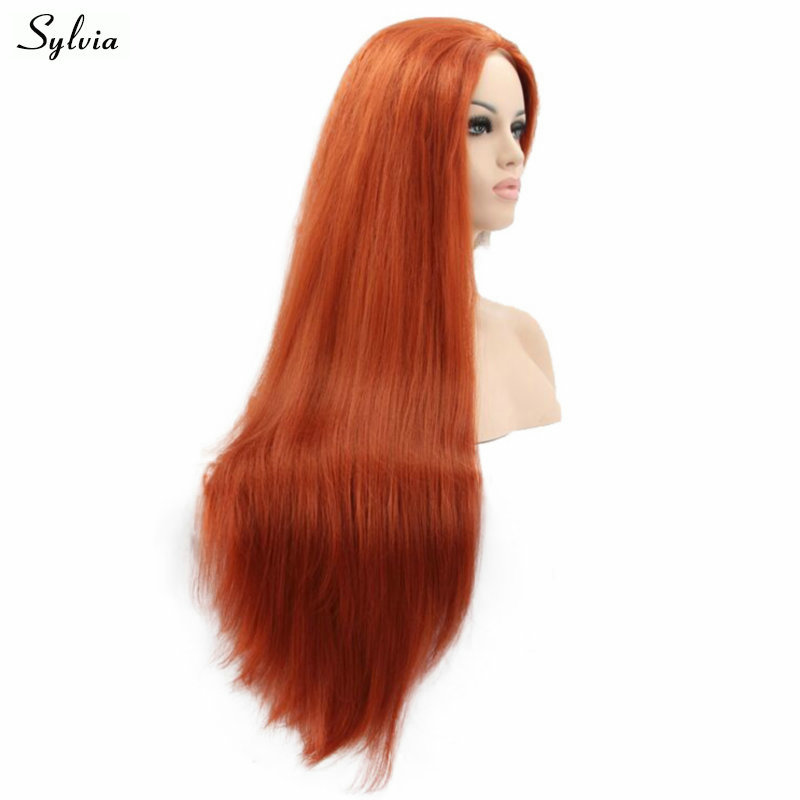 Yaki Straight 360# Long Natural Hairline Heat Resistant Fiber Mixed Orange Replacement Full Wig Synthetic Lace Front Wigs Sylvia
