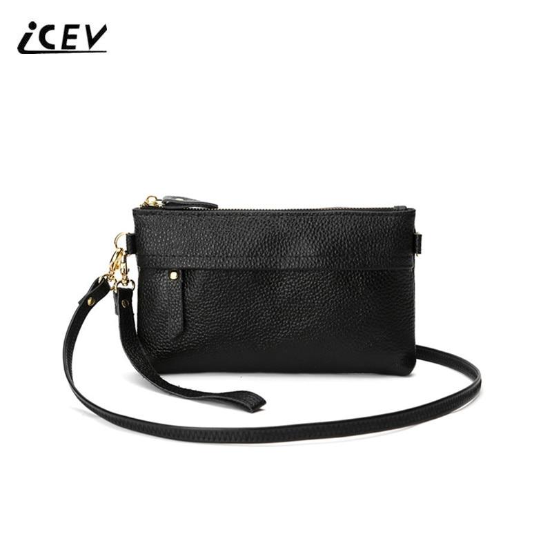 ICEV Hot Sale Korean Type Genuine Leather Bags Girls Wrist Phone Bags Women Messenger Bags Fashion Ladies Shoulder Cowhide Bags hot sale prdl18 7dn lengthen type