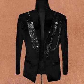 Black red clothes men suits designs masculino homme terno stage costumes for singers jackets men sequins blazer dance star style