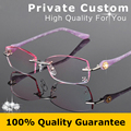 Personal Customized Rimless Eyeglasses Women Fashion Glasses Lady Myopic Prescription Glasses Reading Rhinestone Decorations 616