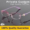 Personal Personalizados Miopes Gafas de Lectura Sin Montura de Gafas Mujeres Gafas de Moda de la Señora Rhinestone Decoraciones 616