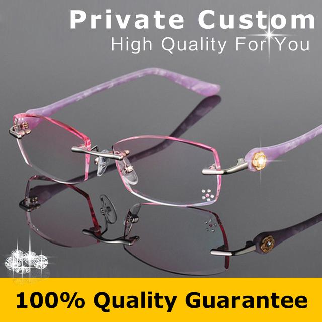 Personalizado pessoal de Óculos Sem Aro Mulheres Óculos Da Moda Senhora Prescrição Míope Óculos de Leitura Strass Decorações 616