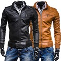 2015 spring stand-up collar Multi-pocket PU Leather jackets men casual slim fit Ribbed hem Leather clothing Outerwear for men