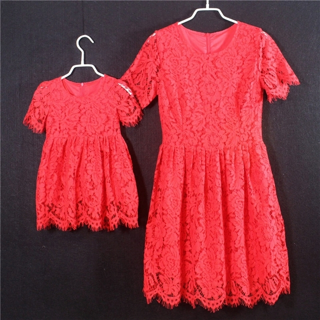 European American A-line short Sleeves white red kids girls holiday skirts mother and daughter lace dresses children party dress