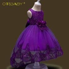 Летнее Детское кружевное платье с цветочной вышивкой для девочек