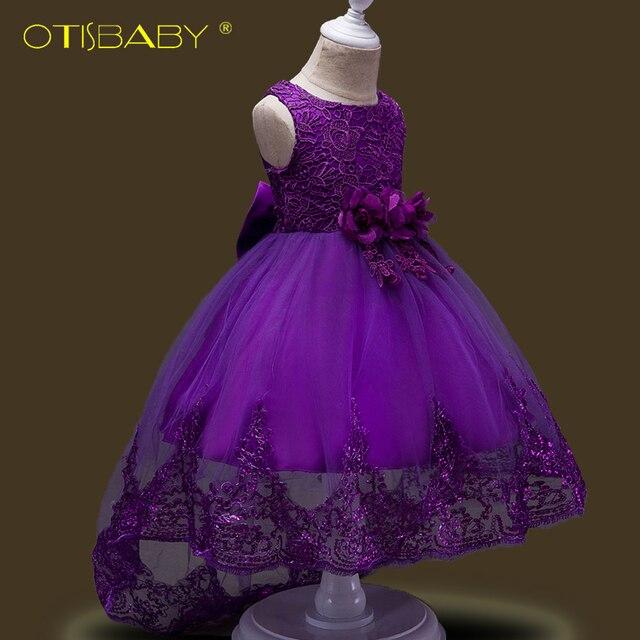 dc9c5a1259c70 Été enfants brodé dentelle fleur filles robe formelle fille robes pour fête  mariage paillettes de bal avec queue