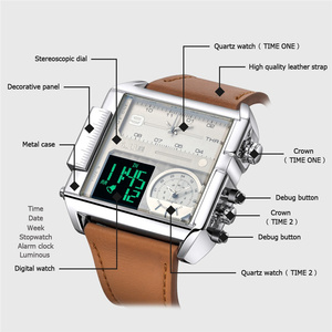 Image 5 - Novo design led dígito display duplo relógios masculinos tamanho grande quadrado dial couro esporte masculino relógios de pulso marca luxo masculino