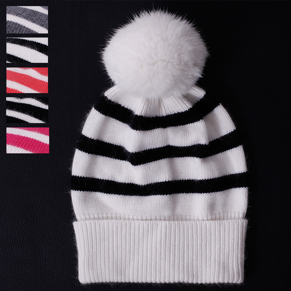 Fur Ball Pom 2017 New Brand Ms Winter Warm Knitted Wool Hat Women Cap High Quality stripe Skullies & Beanies casual bonnet skullies beanies newborn cute winter kids baby hats knitted pom pom hat wool hemming hat drop shipping high quality s30