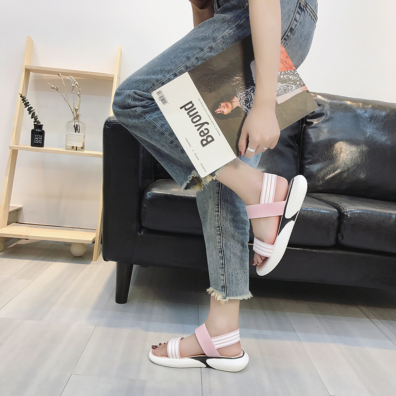 Casual sandals female summer thick bottom simple 2019 new students wild retro flat sandals tide 27