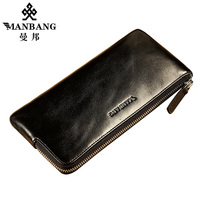 Manbang Luxury Vintage Men Wallets Long Zipper Clutch Purse Designer Brand Cowhide Wallet