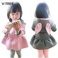 NUEVOS bebés de la ropa chaqueta de abrigo de conejo de dibujos animados niños de la manera hoodied tops outwear niños capa del resorte del otoño del bebé ropa