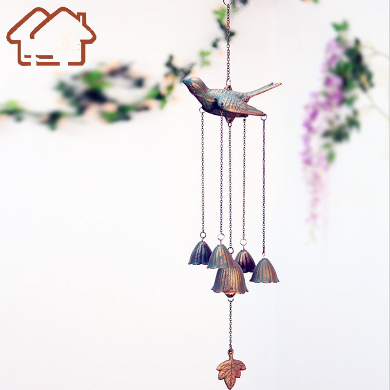Wind Chime Casting Iron bird crafts Home Decoration wind bell home door decor rural style art garden decor gifts