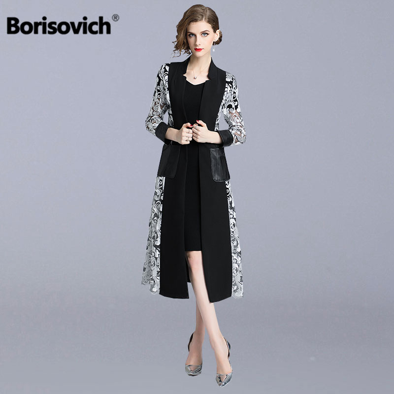 Borisovich Women Long   Trench   Coat New Brand 2018 Autumn Fashion England Style Double Pocket Elegant Female Outerwear Coats N151