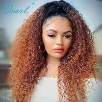 Qearl Ombre бразильский странный афро вьющиеся Full Lace человеческих волос парики с ребенком волос предварительно сорвал натуральных волос 150%/ пло