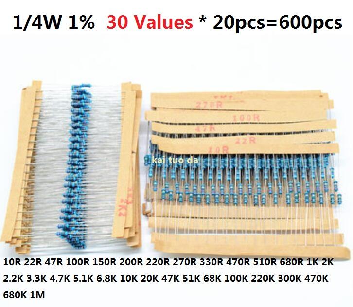 30Values*20pcs=600pcs 1/4W metal film Resistor Kit 1% assorted Kit Set 1K 10K 470R 510R 680R 2K 2.2K 3.3K 4.7K 5.1K 6.8K 20K 47K