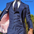 High Quality Suits Tailor Made Slim Fit Costume Homme 3Pieces Jacket+Vest+Pants Custom Made Plus Size Terno Single Breasted