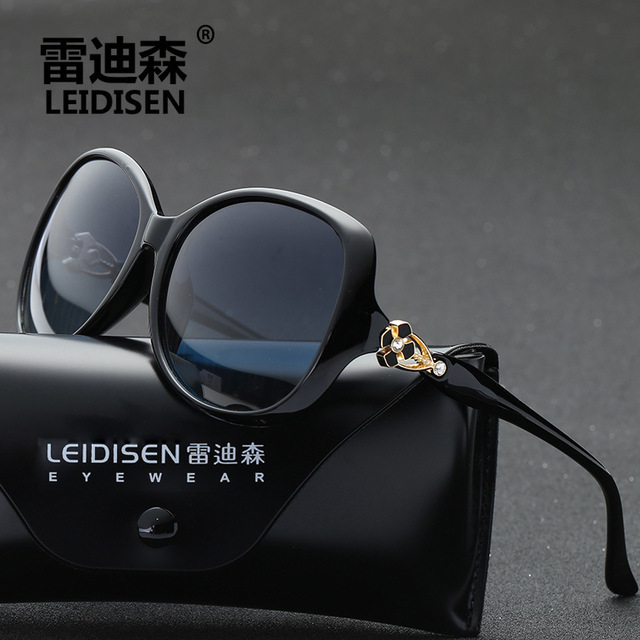 ade929ab2835 LEIDISEN Lady Polarized Sunglasses Designer Clover HD Sun Glasses Eyewear  Accessories UV400 Fashion Black purple red Brown Hot