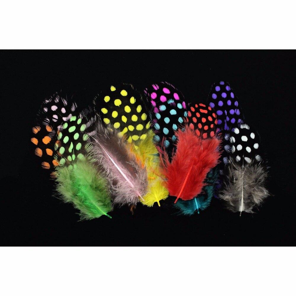 Tigofly 100 pcs/lot 11 Colors LOOSE Guinea Pearl Hen Feather Fowl Plumage Hackles Spotte ...