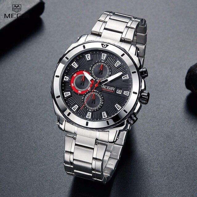 Megir Men's Stainless Steel Quartz Watches Chronograph Analgue Wristwatch For Man Waterproof Luminous Clock Relogio Masculino