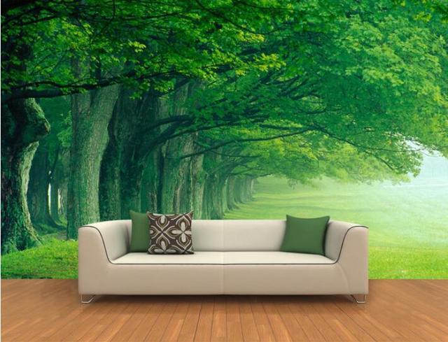 US $15.77 45% di SCONTO|3d carta da parati personalizzata murale non  tessuto adesivi Murali 3D deep forest trees paesaggio sfondo dipinti murali  3d ...