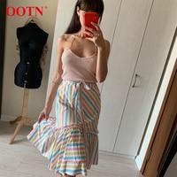 Multicolor Print Casual Summer Skirt Striped Rainbow Womens Midi Skirts High Waist Female Ruffle Long Skirt Fashion 2019