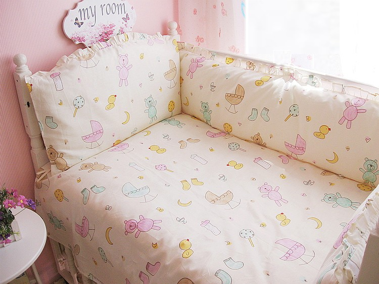 6PCS 100% Cotton Protetor De Berco Crib Set Baby Bumpers Cradle Safety Fence Baby Crib Set ,(4bumper+sheet+pillow Cover)