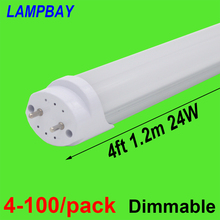 (120 Pack) Free Shipping LED TUBE 4FT 120cm 24W T8 G13 Bulb work into existing fixture 85-277V Stock in USA NO Tax t8 v shaped led tube bulb lights 3ft 18w g13 900mm 85 277v double line led lamp