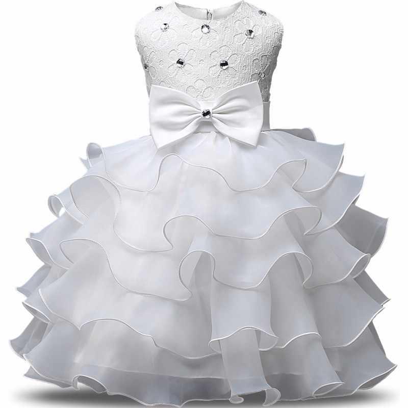 פרח הטבלה שמלה עבור תינוק ילדה קשת גדולה בגדי נסיכה קטנה יום הולדת שמלות פעוט בנות פורמליות שכבות כדור שמלה