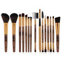 15Pcs Set Women Professional Makeup Nylon Fibre Rose Gold Makeup Brushes Set Kit Foundation Comestic Brush