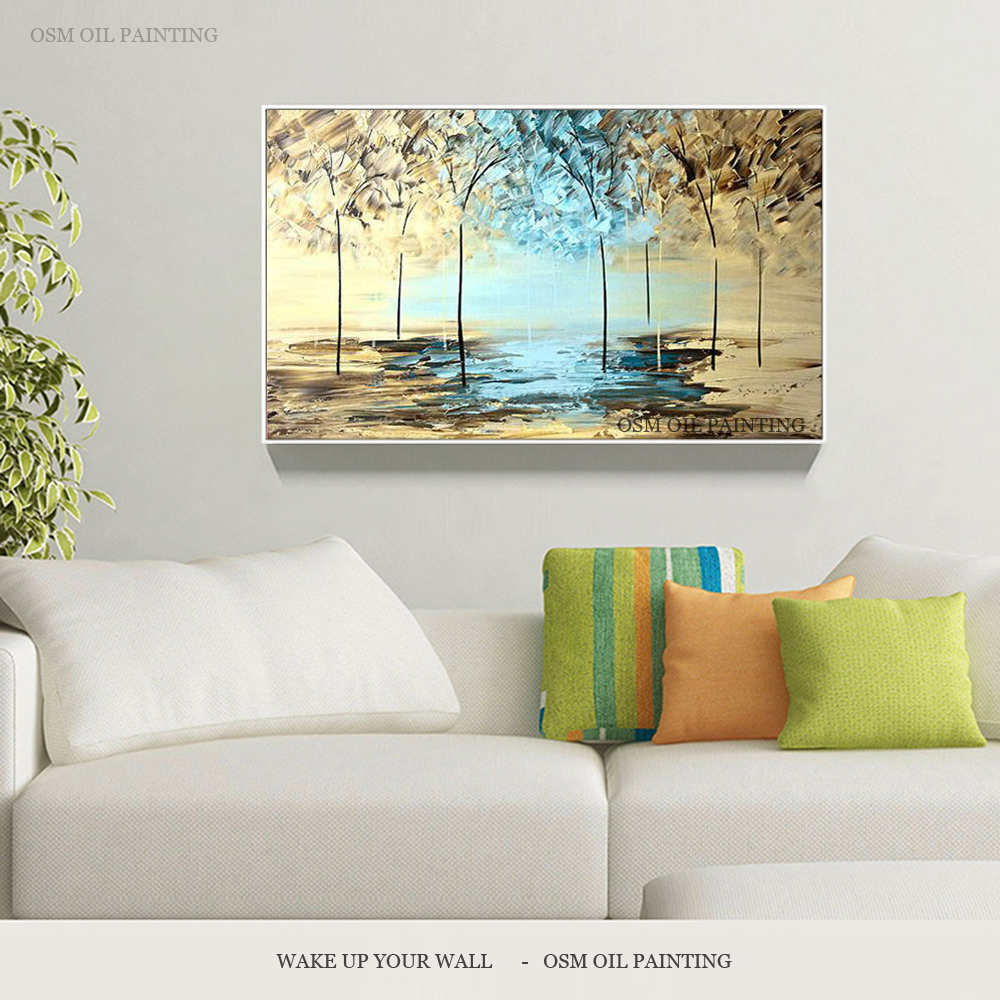 Professional Artist Hand-painted High Quality Abstract Scenery Tree Oil Painting For Interior Design Abstract Canvas Painting interior design