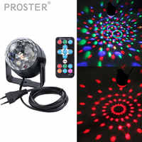 Crystal Magic Ball Led Stage Lamp 7 Mode Sound IR Remote Control 3 Colors 3W Disco Party Lights Christmas Projector Lighting