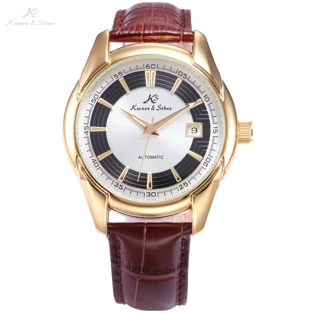 KS Automatic White Golden Date Display Analog Crystal Transparent Back Mechanical Men Brown Leather Band Watch /KS257 guanqin men auto mechanical watch water resistance luminous pointer date 24 hour display transparent back cover wristwatch