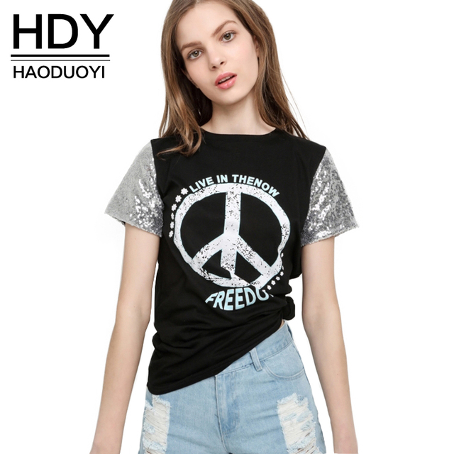 HDY Haoduoyi 2017 Summer Women Fashion Sequined Letter printed top Contrast Patchwork Tee Slim Brief T-shirt for wholesale