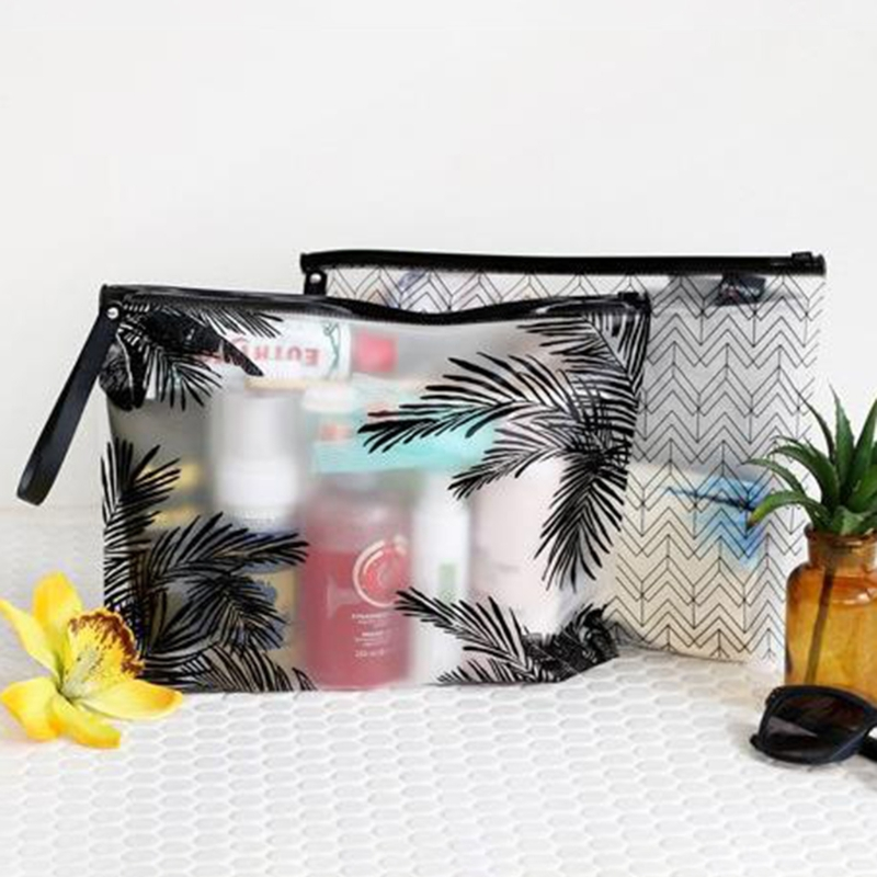 THINKTHENDO New PVC Travel Makeup Cosmetic Bag Clear Toiletry Zipper Pouch Pencil Pen Holder Clear Casual 2 Colors handmade vintage leather zipper pen pencil pouch wallet glasses toolkit toiletry cosmetic makeup bag case 9115fs