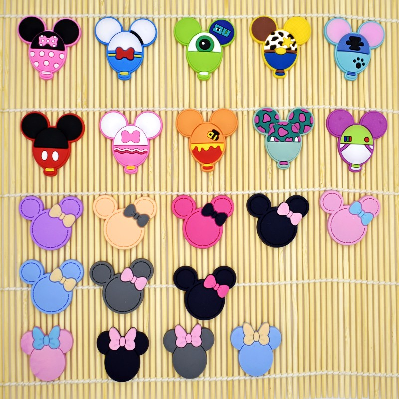 10PCS Cartoon Mickey Shaped Flatback PVC DIY Ornaments Fit Bracelets/Clog/Phone Case/Hair Accessory Charms Kids Girls Craft Gift