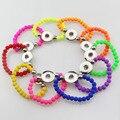 12 unids/lote Mezclar colores Para Niños 15 cm de jengibre snap pulsera hecha a mano agradable 4mm perlas pulsera de ajuste de 18mm botón joyería para Niños Niñas