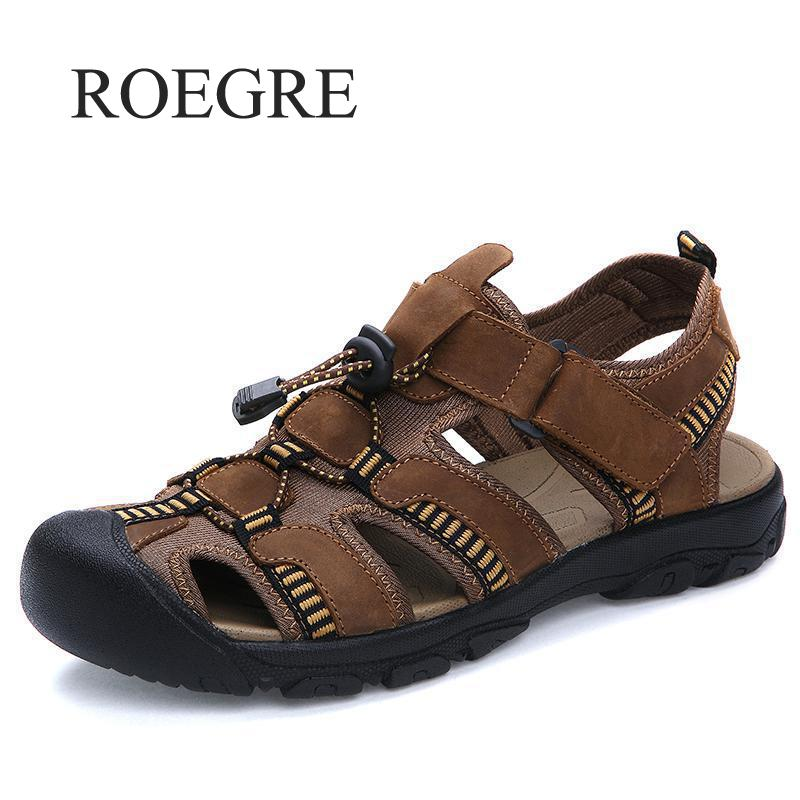 ROEGRE Sandals Men Comfort Genuine Leather Men Sandals Classics Summer Sandals Men Non-slip Outdoor Beach Sandals Size 38-47