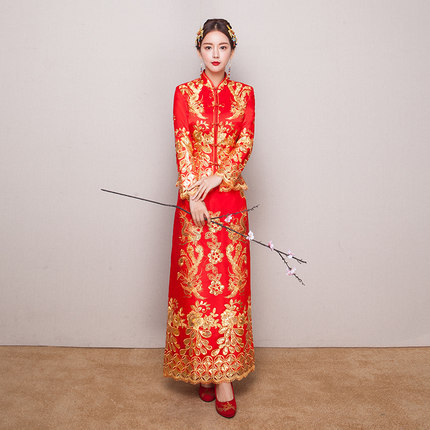 High Quality Red Chinese Wedding Dress Female Cheongsam Gold Slim Chinese Traditional Dress Women Qipao For Wedding Party