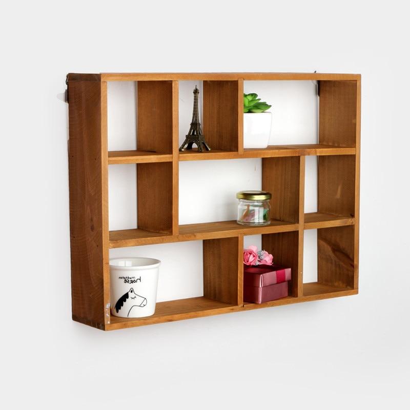 Wooden Box 9 Grids Wooden Shelf Home Storage Holder Rack Bathroom Shelf  Kitchen Hanger Box Home Decoration Organizer Wooden Box In Storage Boxes U0026  Bins From ...