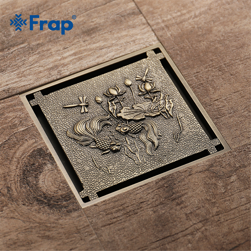 Frap Antique Brass Floor Drain Shower Drain Square Kitchen Waste Drain Bathroom Deodorant Grate Drain Strainer Cover GrateY38068 drains 10 10cm antique brass shower floor drain cover euro art carved bathroom deodorant drain strainer waste grate hj 8507s