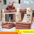 Barato Cão Inflável Bouncer Castelo Brinquedos Trampolim inflável com Escorregador para Venda