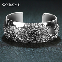 The Width Of The Lotus Sutra Jiashun Silver Vintage Retro Opening Nation Buddhism Jewelry 925 Silver