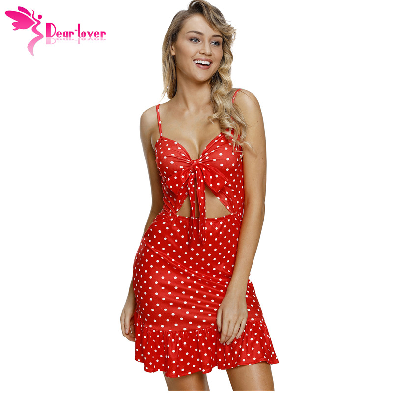 Dear Lover 2018 Summer Party Dress Spaghetti Strap Red White Polka Dot Print Cut Out Frill Hem Mini Dress Short Vestidos C220352