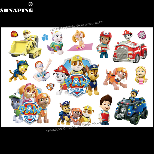 SHNAPIGN PAW Patrol Children Cartoon Temporary Tattoos Sticker Fashion Style Elsa Waterproof Girls Kids Boys Hot