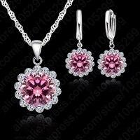JEXXI JEXXI Wholesale Price Wedding Jewelry Set 925 Pure Silver Cubic Zircon Necklace Pendant Earrings Fashionable