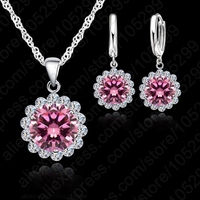 JEXXI JEXXI Wholesale Price Wedding Jewelry Set 925 Pure Silver Cubic Zircon Necklace Pendant Earrings Fashionable