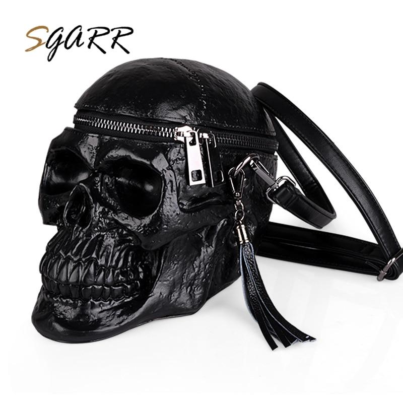 SGARR Arsmundi Originality Women Bag Funny Skeleton Head Black handbag Men Fashion Designer Satchel Skull Shoulder Messenger Bag цена и фото