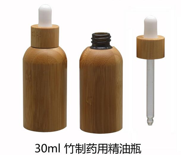 50pcs/lot high-grade 30ml Essential Oil empty Bottles with natural bamboo,glass tank,all bamboo dropper bottle Essence liquid 50pcs plastic ldpe squeezable dropper bottles eye liquid empty new 88 hjl2017