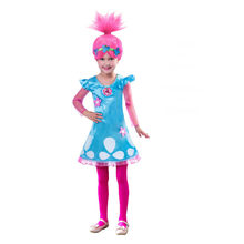 Girls Dresses Trolls Poppy Cosplay Costumes Dress For Girls Streetwear Cosplay Halloween Clothes Kids Fancy Dress Girl Wig(China)